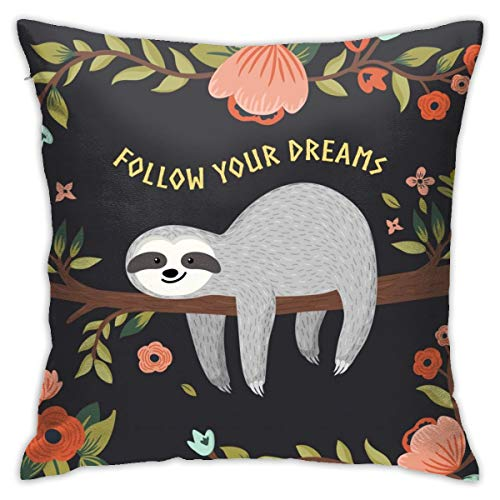 Yaateeh Follow Your Dreams Cute Baby Sloth Tree Throw Pillow Covers Decorative 18x18 Inch Pillowcase Square Cushion Cases for Home Sofa Bedroom Livingroom