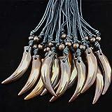 LUOSI porción 12pcs Yak Hueso Fresco Tallado Boy Hombres Lobo Amuletos Colgantes Collares Regalos Collares (Metal Color : Brown 2)
