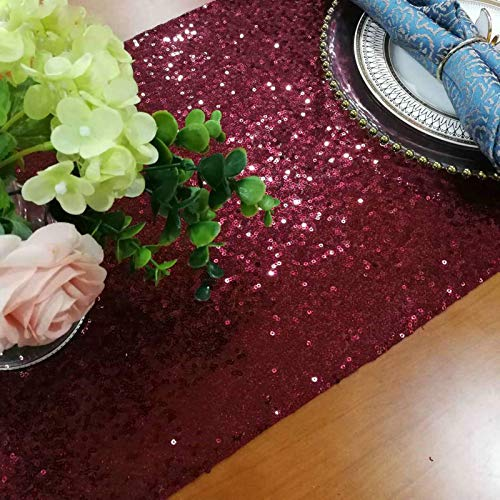ShinyBeauty -Camino de mesa de lentejuelas burdeos, decoración de baby shower, color burdeos, con purpurina, camino de mesa de boda, camino de mesa de lino, vino, Navidad, camino de mesa para fiestas