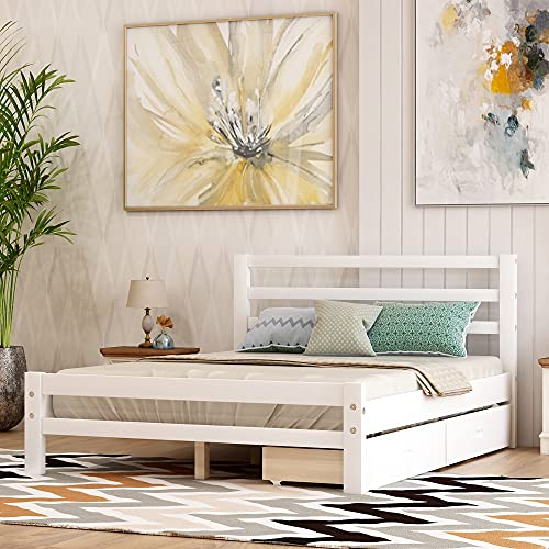 Full Platform Bed with Drawers, Rockjame Minimalist Stylish Low Profile Wood Platform Bed Frame with Headboard, No Box Spring Needed, Perfect for Boys, Girls, Children, Teens and Adults, White