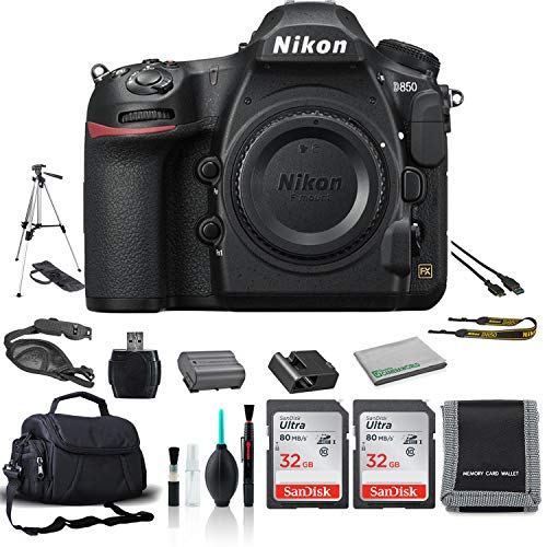 Nikon D850 FX-Format Digital SLR Camera (Body Only) 45.7MP - Bundle with 2X 32GB Sandisk Memory Card + Carrying Case + Tripod + More