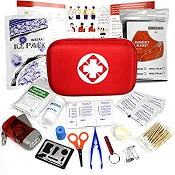 Trousse de Premier Secours 18 Articles, Rouge Semi-Rigide Mini Box Sac d'urgence Médical Imperméable Les Activités Extéreures Premiers Secours Domestiques JAANY