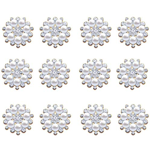 10 Pieces Faux Pearl Rhinestone Flower Buttons Embellishments Brooch Pin , Vintage Flatback Pearl Buttons Round Crystal for Jewelry Making Clothes Bags Shoes Supplies and Wedding Bouquet Crafts