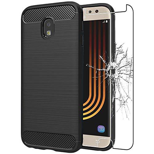 ebestStar - Funda Compatible con Samsung J5 2017 Galaxy SM-J530F Carcasa Silicona Gel, Protección Diseño Fibra Carbono Ultra Slim Case, Negro + Cristal Templado [Aparato: 146.2x71.3x7.9mm 5.2']