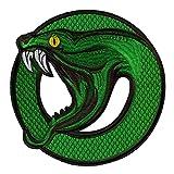 Parche Termoadhesivo XL Serpiente para Ropa - 21.6 x 21.6 cm - Parche Motero Bordado Espalda Decorativo Grande Animal Verde Southside Serpents Rock Hombre Aplique para Planchar o Coser Manualidades