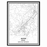 Alcoy España Mapa de pared arte lienzo impresión cartel obra de arte sin marco moderno mapa en blanco y negro recuerdo regalo decoración del hogar