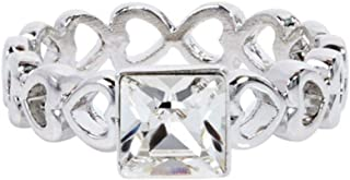 Swarovski Elements Women's 18K White Gold Plated Ring - SWR-019