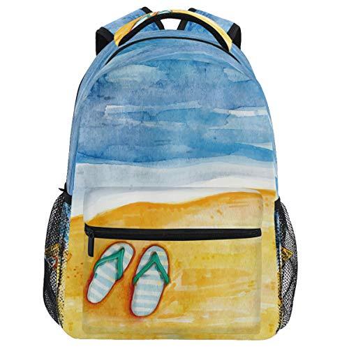 Oarencol andy Beach Sea Art Mochila Verano Flip Flops SBookbag Daypack Viaje Senderismo Camping Escuela Bolsa Portátil