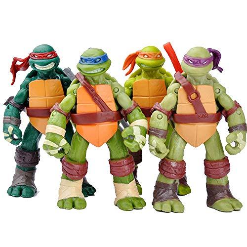 ZHANGH 4 Adolescentes Mutantes Ninja Tortugas 4,8 Pulgadas Figura Clásica Conjunto De 4 Juguetes Modelo De Tortuga Ninja