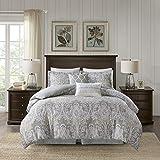Harbor House Cozy 100% Cotton Comforter Set-Classic Modern Design All Season Down Alternative Casual Bedding, Matching Shams, King(110'x96'), Hallie, Damask Grey 6 Piece