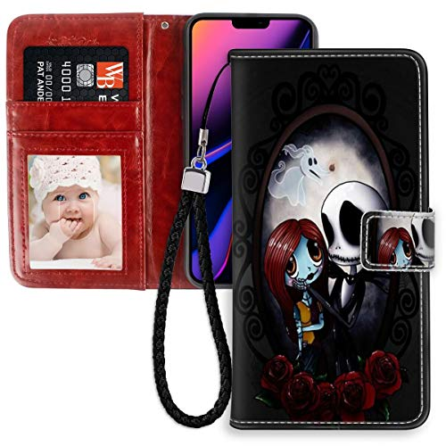 DISNEY COLLECTION Wallet Case for iPhone 11 Pro Max Case The Nightmare Before Christmas Halloween Lovers with Kickstand Card Holder and Wrist Strap Folio Flip Wallet Case with ID Slot