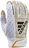 Adizero 9.0 Royalty Receiver's Gloves White/Metalic Gold, Large