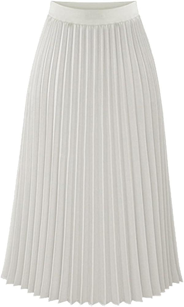 Botanmu Mujer Falda Plisada Metalica Midi Cintura Alta Cintura Elastica Talla Grande