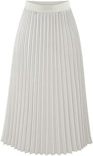 TEERFU Womens Pleated Midi Skirt,High Waist Swing Boho Pleated Skirt Casual Chiffon Elastic A-line Long Skirts