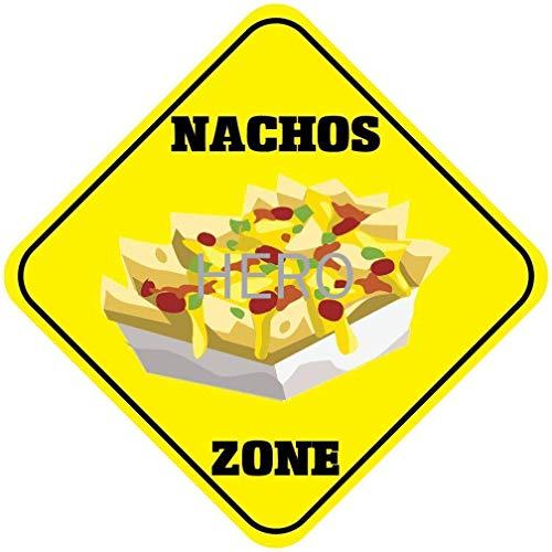 Huzkc Placa de hierro de Nachos Zone, letreros de pintura, advertencia de barra, retro hierro no oxidado, prevenir el deslumbramiento cartel para pared vintage
