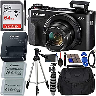 Canon PowerShot G7 X Mark II Digital Camera (Black) with Accessory Bundle - Includes: SanDisk Ultra 64GB SDXC Memory Card, Replacement Battery, Full Size Tripod, Carrying Case & More by Blue Pixel
