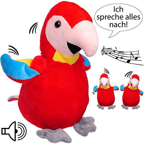 NACH sprechender - Papagei / Vogel / Ara -  Ich spreche Alles nach & bewege Mich dazu  - aus Stoff / Plüsch - Plüschtier - mit Sound & Bewegung - spricht & ..