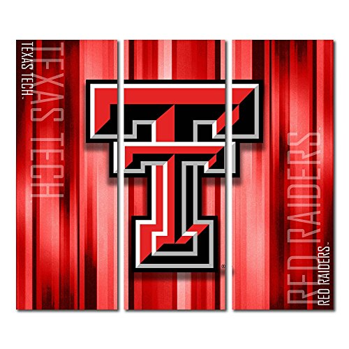Victory Tailgate Texas Tech Red Raiders Bulls Canvas Wall Art Triptych Rush Design (48x54 Triptych) image