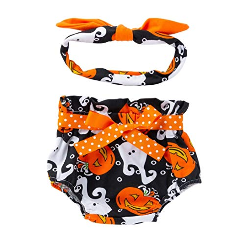 Peuter Baby Meisje Strik Pompoen Bloomer Luier Ondergoed Panty Luier Kort+Hoofdband, Halloween Outfits Set, Nieuwe Baby Gift