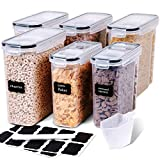 Cereal Containers Storage Set - 6 Piece Airtight Large Dry Cereal Storage Containers(135.2oz), BPA Free Dispenser Plastic Cereal Storage Containers with 16 Labels & Pen - FOOYOO