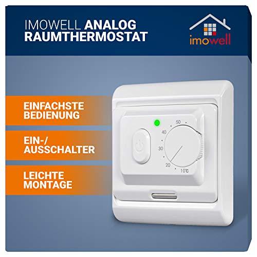 Analoges Raumthermostat/Wandthermostat zur Unterputzmontage mit Drehrad und Ein-/ Ausschalter für elektrische Heizungen