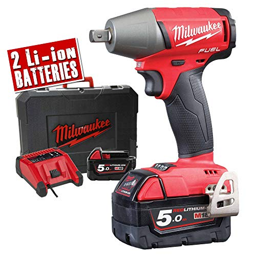 Milwaukee M18 FIWP12-502X 18V Li-Ion Accu slagmoersleutel set (2x 5.0Ah accu) in HD BOX - 300Nm - 1/2
