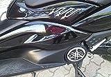 2 ADESIVI 3D GRANDI NERI-CARBONIO TUNING T MAX per SOTTO SELLA MOTO YAMAHA TMAX 08-11