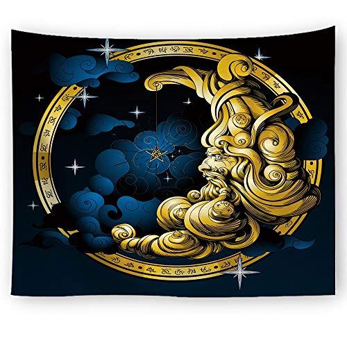 KHKJ Tapiz de Mandala Indio para Colgar en la Pared, Cielo Estrellado, tapices Grandes, Sol, Luna y Estrella, decoración de Pared, Accesorios de decoración del hogar, A9 150x130cm