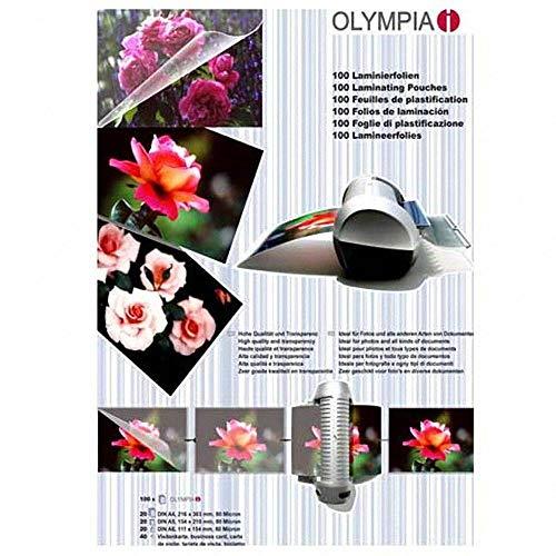 Filux OLYMPIA Laminierfolien Set A4, A5, A6 und Visitenkartengrösse, 100 Stück