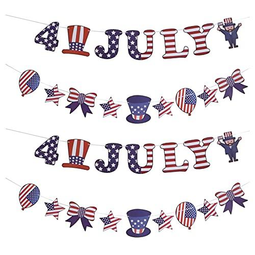 ABOOFAN 4 Piezas 4 de Julio Banderines Banderines de Papel Bandera Americana Banderines Patrióticos para La Decoración del Día de La Independencia del 4 de Julio 20X18. 8CM