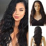 Parrucca Donna Capelli Veri Mossi Lace Front Wig Naturale Human Hair 100% Remy Virgin Parrucche Umani Brasiliani 130% Densità Body Wave, 20'/50cm