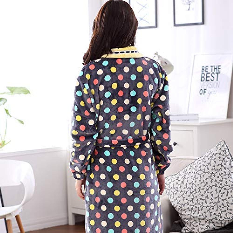 DALAI Autumn and Winter Flannel Robe Ladies Cute Polka dot Coral Fleece Bathrobe Yukata Pajamas Home Service (color   Black, Size   XXL) (color   Black, Size   XXLarge)