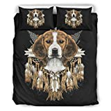 Haythan Beagle Head Dreamcatcher - Juego de ropa de cama de 3 piezas con funda de edredón y 2 fundas de almohada, tamaño king (264 x 229 cm), color blanco