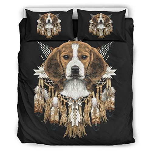 Mentmate Store Couvre-lit Beagle Head Dreamcatcher en microfibre douce – 1 housse de couette et 2 taies d'oreiller pour chambre à coucher garçon Blanc 264 x 229 cm