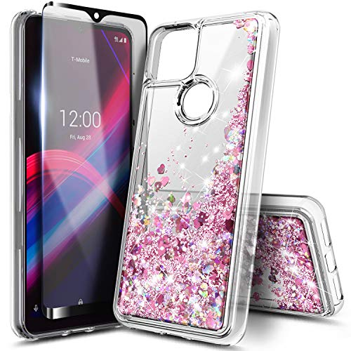 NZND Case for T-Mobile REVVL 5G with Tempered Glass Screen Protector (Full Coverage), Glitter Liquid Floating Waterfall Durable Girls Cute Phone Case Cover (Rose Gold)