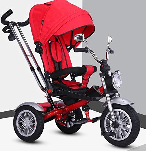 ROSA ROCA Triciclo evolutivo Barley. Juguete niño y niña. Simulación Moto. Color Rojo.