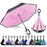 ZOMAKE Inverted Umbrella, Double Layer Reverse Umbrella Large Inside...