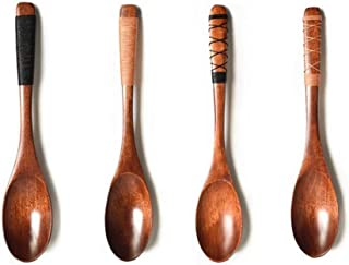 sansheng 4Pcs Wooden Spoons, Wood Soup Spoons for Eating Mixing Stirring Cooking, Long Handle Spoon with Japanese Style Ki...
