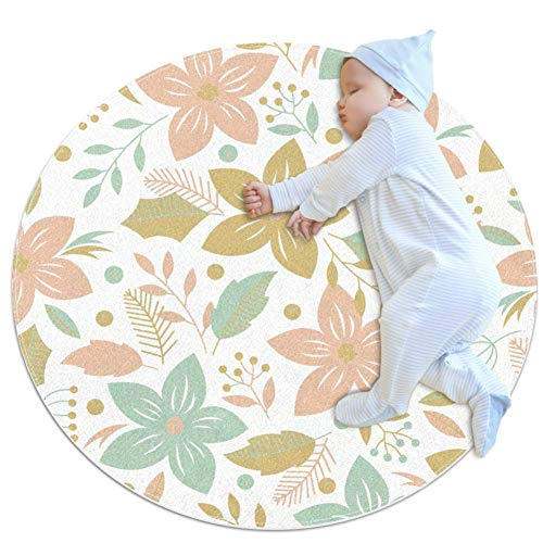 Colorful Cartoon Flowers Small Shag Soft Round Area Rugs Outdoor Circle Rugs for Boy and Girl Castle Playmat for Kids Bedroom Baby Room Best Gift for Your Children 3feet 4inch