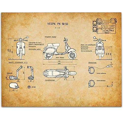 Vespa Art Print - 11x14 Unframed Patent Print - Great Gift Under $15 for Scooter Lovers