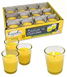 Hyoola Citronella Candle Votives in Glass Cup - 24 Pack - Indoor and Outdoor Decorative and Mosquito, Insect and Bug Repellent Candle - Natural Fresh Scent – 12 Hour Burn Time