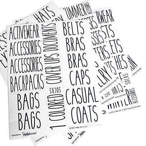 Talented Kitchen 134 Closet, Clothing & Shoes Labels. 134 All Caps Label Sticker. Water Resistant Labels. Decals Storage Organization for Bins Baskets & Containers (Set of 134-Closet Clothing & Shoes)