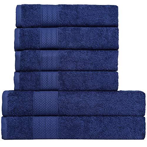 BRIELLE Handtuch-Set, 2 Duschtücher 70x140 cm, 4 Handtücher 50x100 cm, Baumwolle Sehr saugfähige Handtücher für das Badezimmer, Duschtuch in Hotel- & Spa-Qualität, Packung mit 6, Navy Blau Farbe