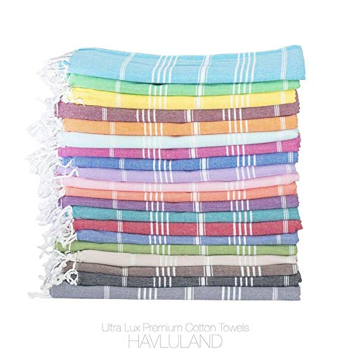 HAVLULAND Sale Turkish Cotton Peshtemal Bath Beach Spa Sauna Hammam Gym Towel (12, Multi)