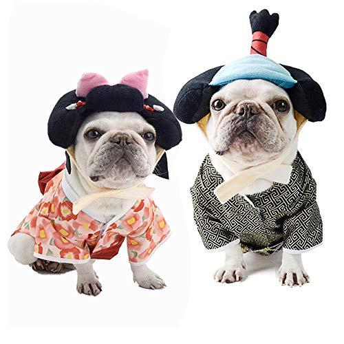 XpFac Store Ropa de Perro Primavera y otoo Chaqueta Delgada Kimono Vestido Bichon Corgi Ropa (Color : Kimono, Size : Large)