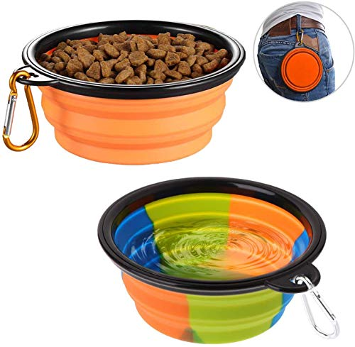 lesotc Collapsible Dog Bowl Foldable Expandable Cup Dish for Pet Cat Food Water Feeding Portable Travel Bowl Free Carabiner