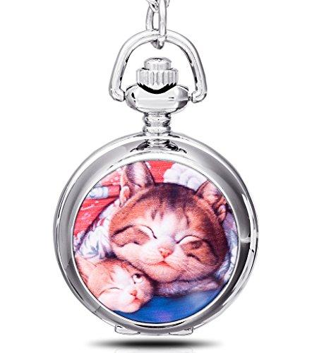 Unendlich U Schmelz faul Katzen/Kitty/Kitten mit groß Quarz Taschenuhr Halskette und Lange Kette für Damen/Herren/Mädchen/Junge/Kinder