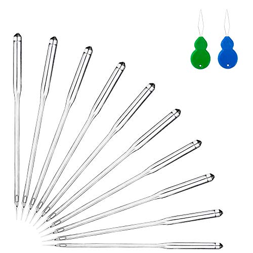 50PCS Sewing Machine Needles, Universal Sewing Needles for Singer, Brother, Bernina, Kenmore, Janome, Schmetz, Easy Thread with 2PCS Needle Threaders, Size 9 11 14 16 18