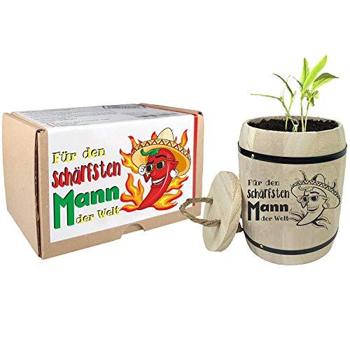 Geschenk für Männer - Anzuchtset Chili Für den schärfsten Mann der Welt - Weihnachtsgeschenk Wichtelgeschenk