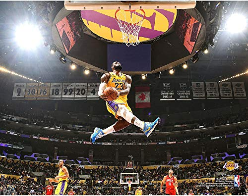 LeBron James Los Angeles Lakers Unsigned Dunk Against Houston Rockets...